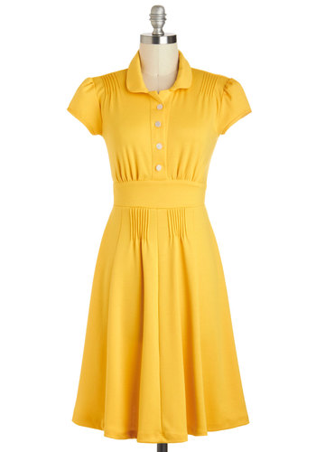 Gold Golly Dress - Mid-length, Yellow, Solid, Buttons, Pleats, Casual, A-line, Cap Sleeves, Collared, Vintage Inspired, Shirt Dress, Pinup, 60s