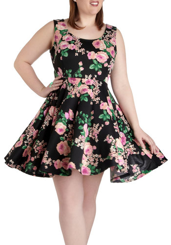 Day off the Grid Dress in Blossoms - Plus Size - Black, Multi, Floral, Casual, A-line, Tank top (2 thick straps), Scoop, Daytime Party, Summer, Graduation