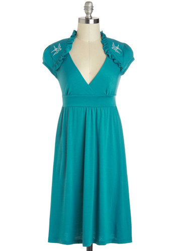 Belles And Whistles Dress in Turquoise - Green, White, Solid, Embroidery, Ruffles, Casual, Empire, Cap Sleeves, V Neck, Rockabilly, Long, Travel