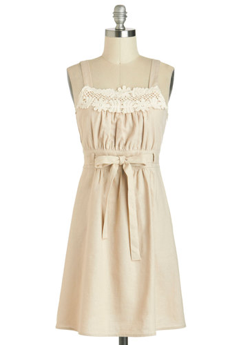 Reliving the Pastoral Dress - Mid-length, Tan, Tan / Cream, Crochet, Belted, Casual, Tank top (2 thick straps), Solid, A-line