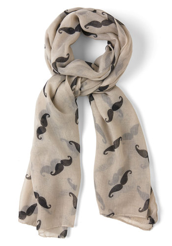 Mustachioed to Joy Scarf in Ivory - White, Black, Print, Quirky, Variation, Winter