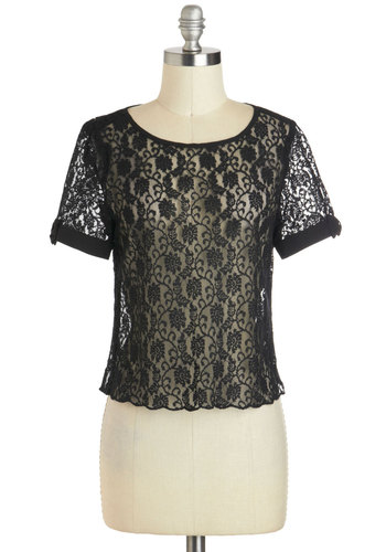 Better Bow-lieve It Top - Black, Solid, Bows, Lace, Party, Short Sleeves, Sheer, Short