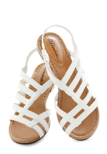White Sand Shores Sandals - White, Solid, Flat, Cutout, Casual, Faux Leather, Strappy, Summer