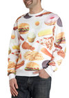 Dan's Snack Attack Men's Sweatshirt - White, Red, Green, Brown, Tan / Cream, Novelty Print, Casual, Long Sleeve, Quirky, Sweatshirt, Statement