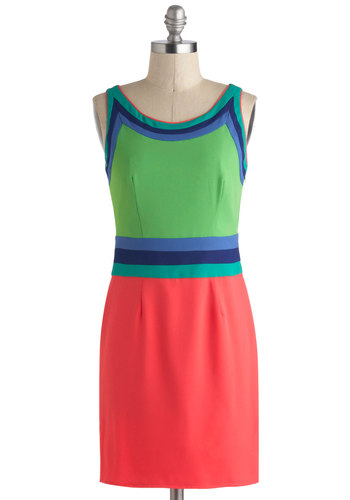 Bright Off the Bat Dress - Blue, Pink, Party, Sheath / Shift, Sleeveless, Spring, Mod, Short, Green, Scoop, Colorblocking