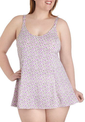 Pool Party Perfect One Piece in Plum Posy - Plus Size by Esther Williams - Multi, Floral, Beach/Resort, Summer