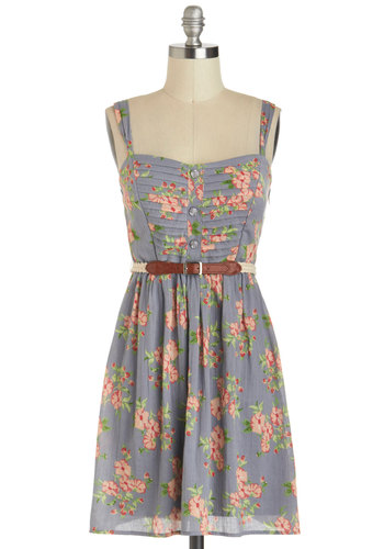 Beauty In Bloom Dress - Multi, Floral, Belted, Casual, A-line, Tank top (2 thick straps), Sweetheart, Cotton, Grey, Buttons, Summer, Pleats, Spring