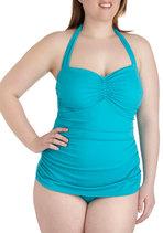 Swimwear - Bathing Beauty One Piece in Teal - Plus Size