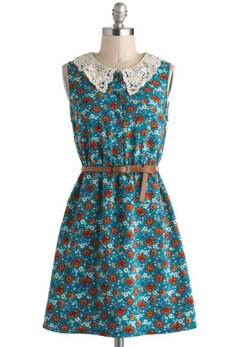 The Way It Grows Dress - Blue, Multi, Floral, Belted, Casual, A-line, Sleeveless, Collared, Crochet, Peter Pan Collar, Short