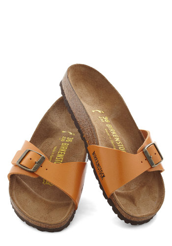 Zest Foot Forward Sandal by Birkenstock - Leather, Orange, Tan / Cream, Solid, Casual, Boho, Faux Leather, Flat, Summer, Travel