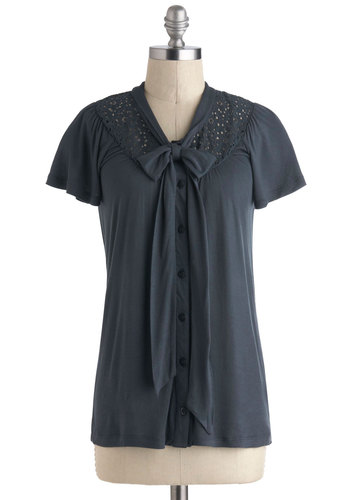 Saturday Chic Top - Jersey, Mid-length, Blue, Solid, Bows, Buttons, Casual, Short Sleeves, Tie Neck