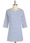 Lines Around the Block Top in Nautical - Mid-length, Exclusives, Blue, Stripes, Casual, Nautical, 3/4 Sleeve, Boat, White, Variation, Travel, Multi, Blue, 3/4 Sleeve