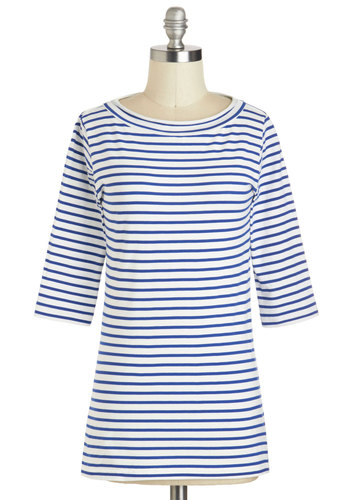 Lines Around the Block Top in Nautical - Mid-length, Exclusives, Blue, Stripes, Casual, Nautical, 3/4 Sleeve, Boat, White, Variation, Travel, Multi, Blue, 3/4 Sleeve, Top Rated
