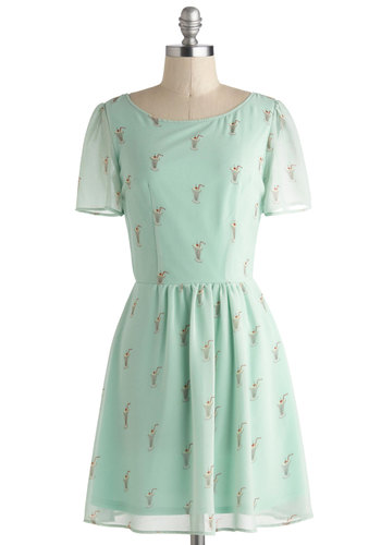Milkshake, Rattle, and Roll Dress by Sugarhill Boutique - International Designer, Short, Mint, Multi, Novelty Print, Cutout, Casual, A-line, Short Sleeves, Scoop, Vintage Inspired, 50s, Pastel