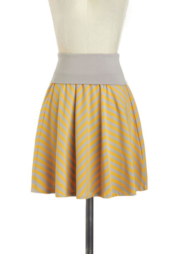 Make My Casual Friday Skirt - Jersey, Cotton, Yellow, Grey, Stripes, Casual, A-line, Mini, Pastel, Beach/Resort, Mid-length