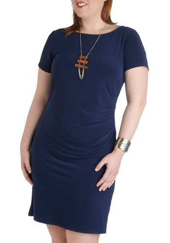 Side-Swept Away Dress in Plus Size - Blue, Solid, Ruching, Casual, Sheath / Shift, Short Sleeves, Scoop, Work, Minimal, Exclusives