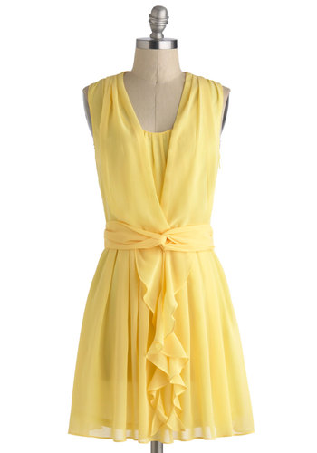Conveyed with Lemonade Dress - Yellow, Solid, Short, Ruffles, Daytime Party, A-line, Sleeveless, Wedding, Graduation, Bridesmaid, Summer