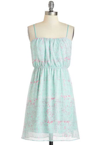 Club Meadow Dress in Mint Fields - Mid-length, Mint, Pink, Print, Casual, A-line, Spaghetti Straps, Beach/Resort, Pastel, Spring, Summer
