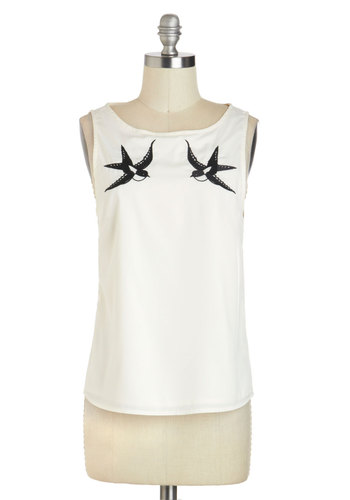 A Way With Birds Top by Sugarhill Boutique - International Designer, Mid-length, White, Black, Print with Animals, Casual, Rockabilly, Sleeveless, Summer