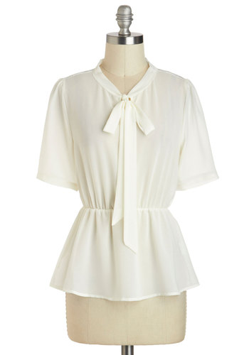 No Tie Like the Present Top - Solid, Tie Neck, Work, Vintage Inspired, Peplum, Short Sleeves, Sheer, Mid-length, White