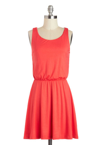 More Than Meets The Tie Dress - Short, Red, Solid, Cutout, Casual, A-line, Tank top (2 thick straps), Scoop, Minimal