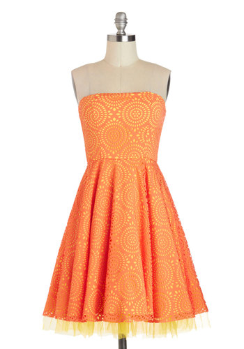 Citrus Burst Dress - Short, Orange, Yellow, Print, Daytime Party, A-line, Strapless, Wedding, Summer, Prom, Bridesmaid