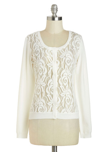 From Day One Cardigan - Sheer, Short, Solid, Buttons, Lace, Long Sleeve, White, Work, Casual, Daytime Party, Scoop