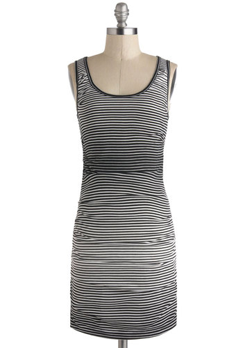 Spectrum of Alignment Dress - Black, Stripes, Casual, Sheath / Shift, Jersey, Short, White, Tank top (2 thick straps), Scoop
