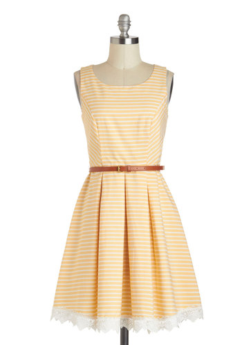 Shining Through Dress - Yellow, White, Stripes, Pleats, Belted, A-line, Spring, Cotton, Mid-length, Embroidery, Casual, Tank top (2 thick straps), Scoop, Daytime Party, Pastel, Graduation