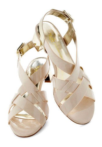 Gilded Pleasures Sandal - Tan, Gold, Solid, Low, Strappy, International Designer, Casual, Daytime Party, Beach/Resort, Spring, Summer, Faux Leather