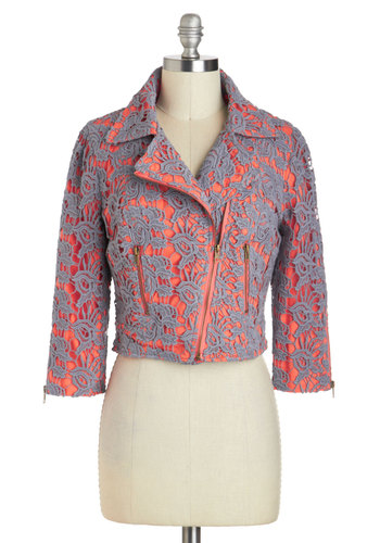 Got the Job Jacket by Darling - Grey, 3/4 Sleeve, Cotton, Short, Embroidery, 2, Coral, Exposed zipper, Pockets, Party, Cropped, Collared