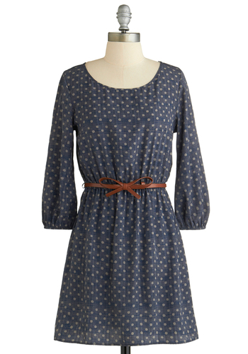 Editor's Note Dress - Blue, Tan / Cream, Polka Dots, Belted, Casual, A-line, Long Sleeve, Chiffon, Short, Exclusives