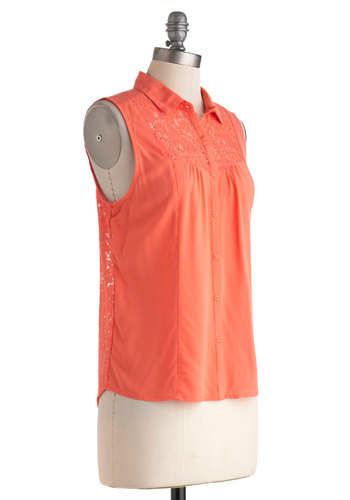 Sit A Spell Top - Orange, Lace, Button Down, Sleeveless, Sheer, Mid-length, Casual, Beach/Resort, Spring, Summer, Collared