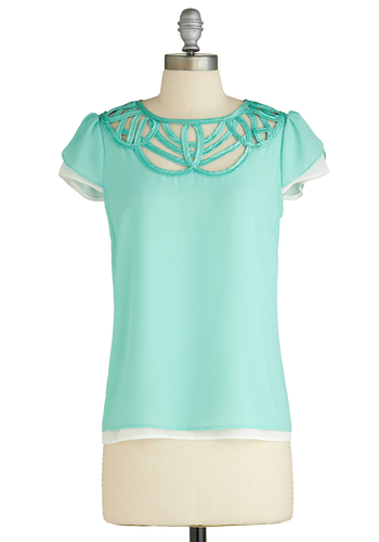 The Slightest Breeze Top - Mid-length, Mint, Solid, Work, Short Sleeves, Pastel