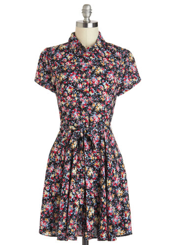 Making Arrangements Dress - Short, Blue, Pink, Floral, Buttons, Casual, Short Sleeves, Shirt Dress, Belted, Black, Holiday Sale, Button Down, Collared