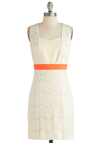 Super Fun Femme Dress - Mid-length, White, Orange, Lace, Party, Sheath / Shift, Sleeveless, Wedding, Bride, Exclusives
