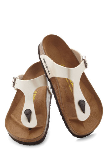 Landscape Consultation Sandal by Birkenstock - Leather, White, Tan / Cream, Solid, Casual, Boho, Flat, Faux Leather, Summer, Travel