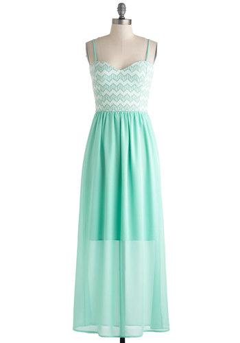 Honors, Minutes, Seconds Dress - Mint, White, Chevron, Maxi, Spaghetti Straps, Sweetheart, Wedding, Pastel, Long, Bridesmaid, Sheer, Chiffon