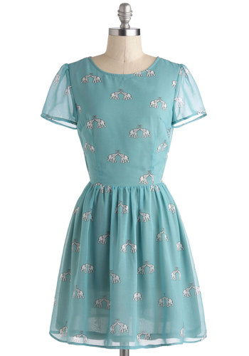 To Have and To Herd Dress by Sugarhill Boutique - International Designer, Blue, White, Print with Animals, Cutout, Casual, A-line, Short Sleeves, Scoop, Pastel, Short, Sheer