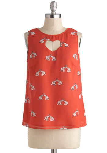 To Have and To Herd Top - International Designer, Coral, White, Print with Animals, Cutout, Sleeveless, Summer, Mid-length, Sheer, Red, Sleeveless, Valentine's