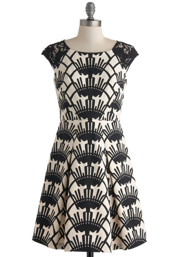 Black and White Party Dress - Black, White, Print, Lace, Party, Mod, Cap Sleeves, Spring, Mid-length, Pleats, A-line, Scoop, Wedding, Cocktail, Bridesmaid