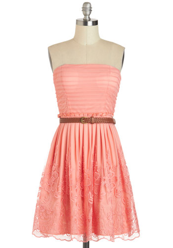 Good And Ballad Dress - Coral, Solid, Lace, Belted, Daytime Party, A-line, Strapless, Sweetheart, Chiffon, Summer, Braided, Pleats, Pastel, Spring, Graduation