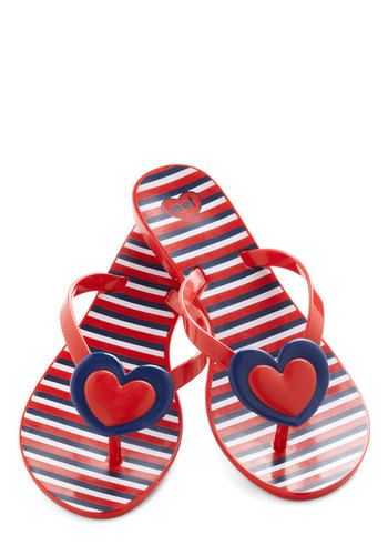 One Amour Day Sandal by Mel Shoes - Red, Blue, White, Stripes, Nautical, Flat, Casual, Beach/Resort, Summer, Travel, International Designer