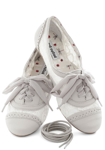 A Pretty Sight Flat in Mist - Flat, Grey, White, Lace, Menswear Inspired, Lace Up