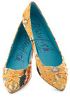 Vantage Point Flats - Multi, Print, Ruching, Flat, Orange, Yellow, Casual
