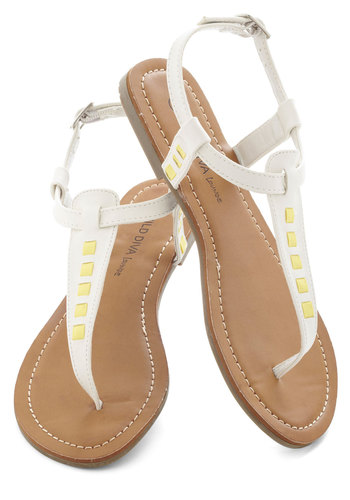 Bit of Bright Sandal - White, Yellow, Summer, Flat, Beach/Resort, Casual, Faux Leather
