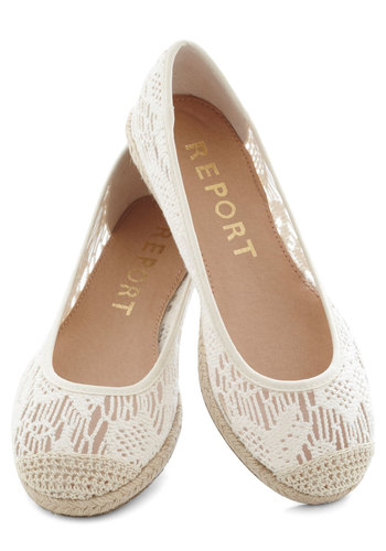 What a Breeze Flat - Low, Cream, Solid, Crochet, Espadrille, Casual, Beach/Resort, Spring, Summer