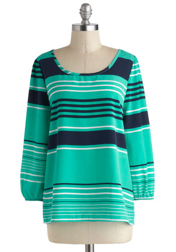 Ebb and Billow Top - Blue, White, Stripes, Long Sleeve, Mid-length, Work, Travel, Green, Long Sleeve
