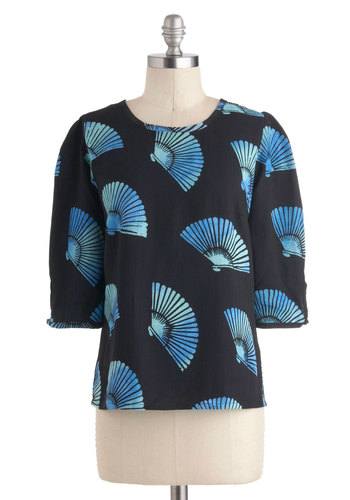 Stand by Your Fan Top by Sugarhill Boutique - International Designer, Mid-length, Black, Blue, Novelty Print, Work, 3/4 Sleeve