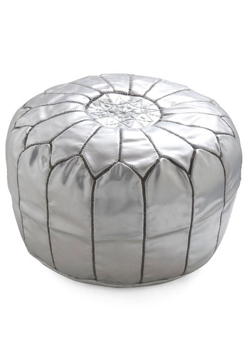 Get it Bright Pouf in Silver by Karma Living - Leather, Silver, Dorm Decor, Daytime Party, Urban, Best, Wedding